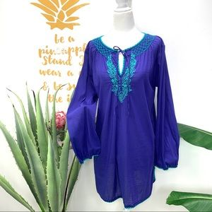 ATHLETA Blue Embroidered Swim Cover Up Tunic Top